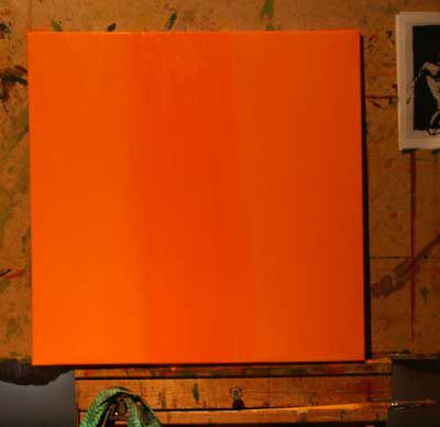 """Spot the difference ... there are three different brands of """"cadmium orange"""" on this canvas."""