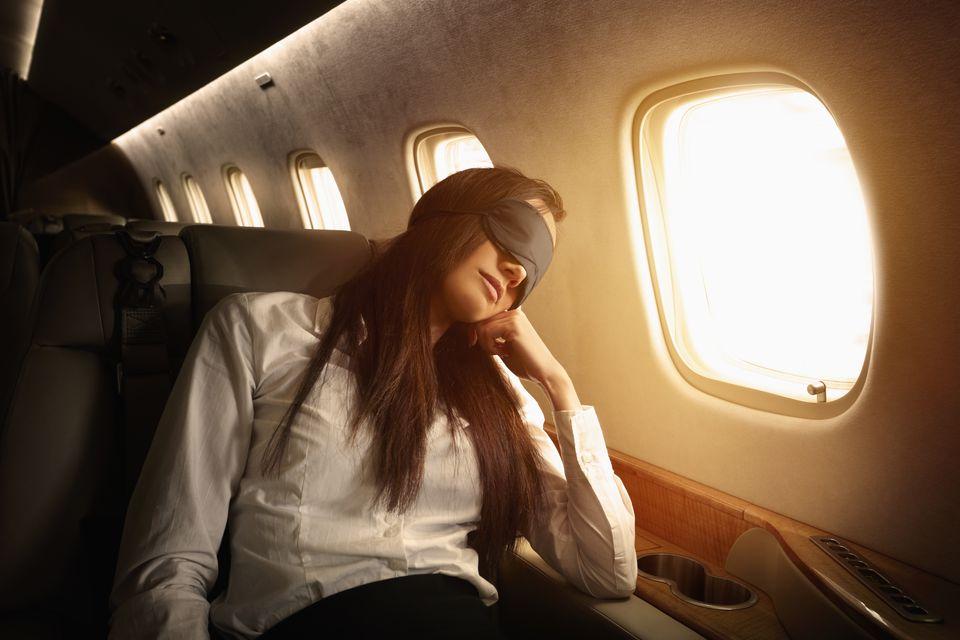 Woman prevents jet lag on flight