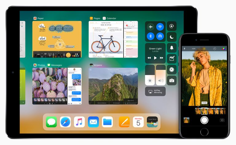 iOS 11 press image featuring an iPad and an iPhone