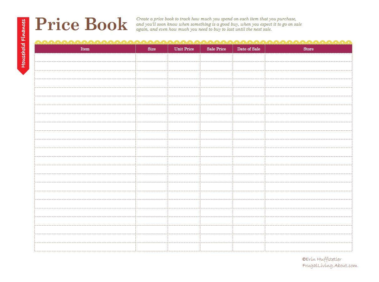 Free Printable Price List