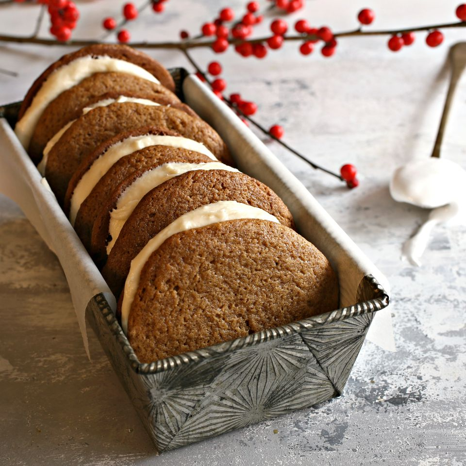 Gingerbread Whoopie Pies with Tahini Cream Filling