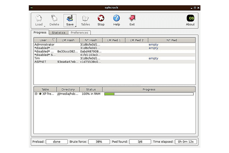 Screenshot of Ophcrack LiveCD v3.6.0