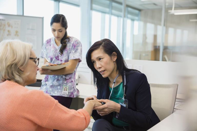 Doctor examining patients hand in clinic office