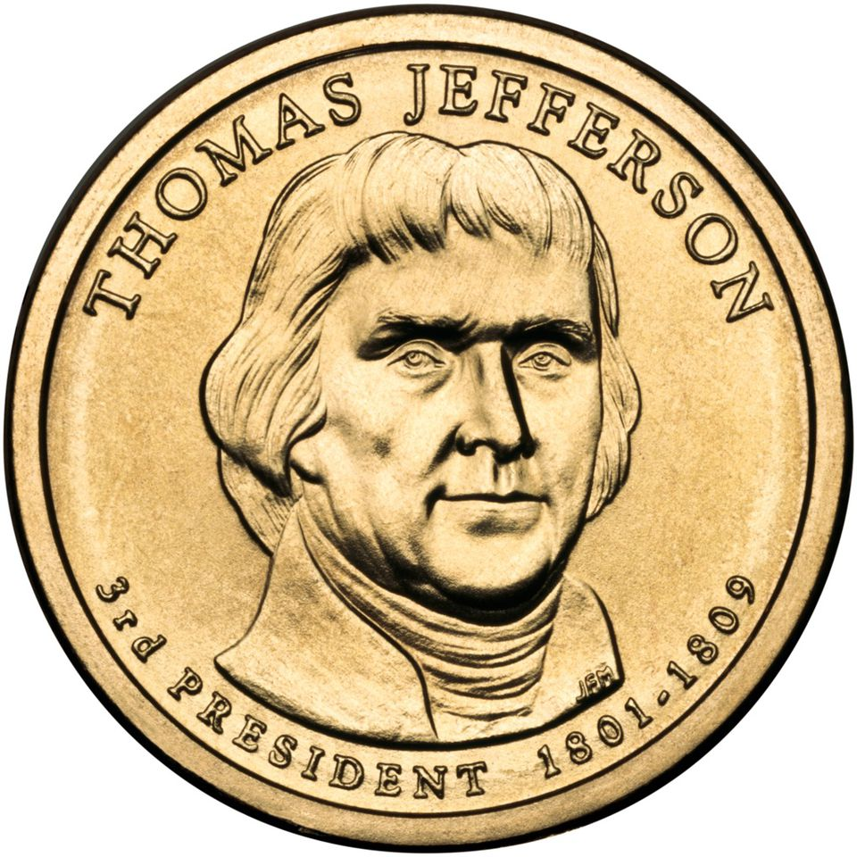 Presidential $1 Coin Program coin for Thomas Jefferson. Obverse.