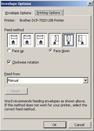 Create and customize envelopes in microsoft word changing envelope feed options spiritdancerdesigns Gallery