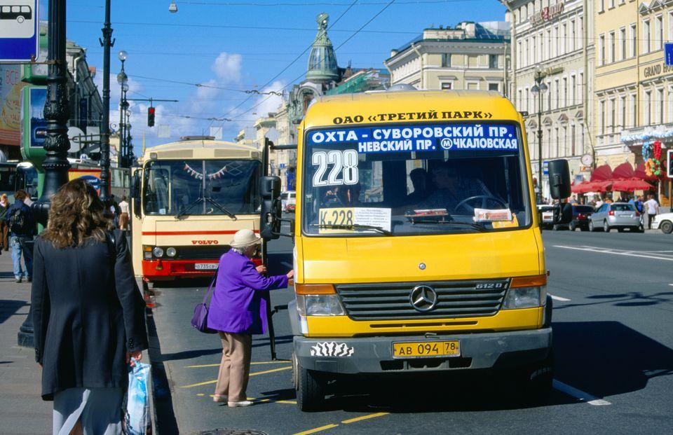 Marshrutka minibus on Nevsky Prospekt. St Petersburg, St Petersburg, Russia, Eastern Europe, Europe