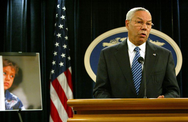 Former Secretary of State Collin Powell addressing human trafficking