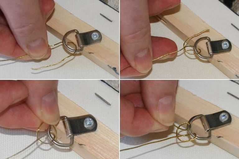 How to tie the knot to hang a picture with wire.