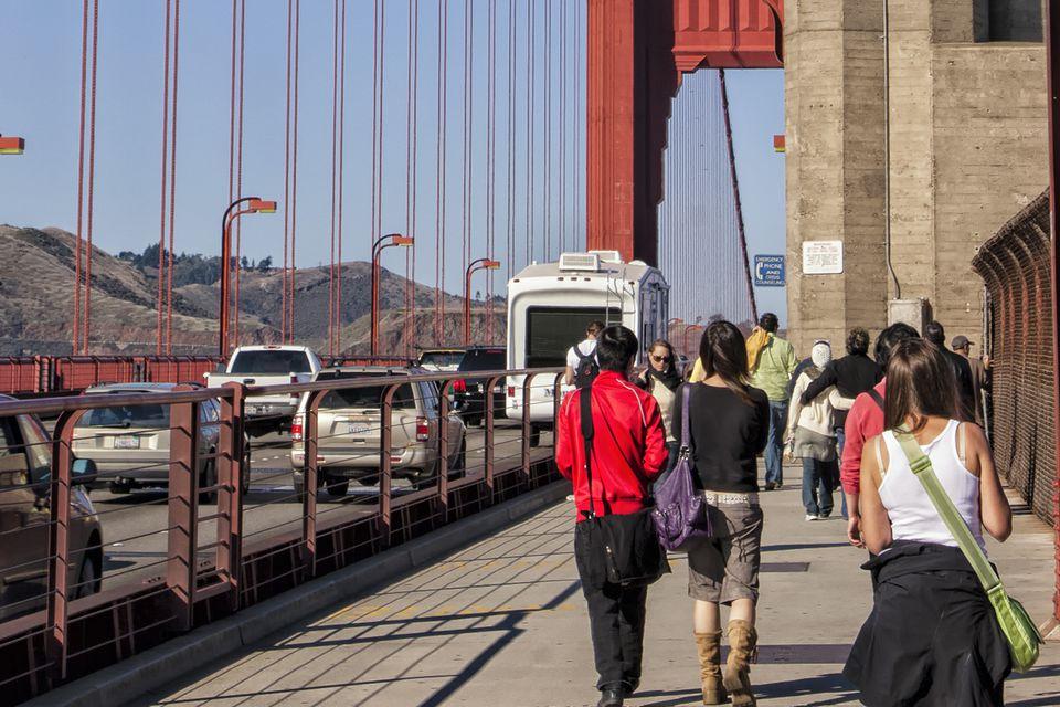 Walking on the Golden Gate Bridge
