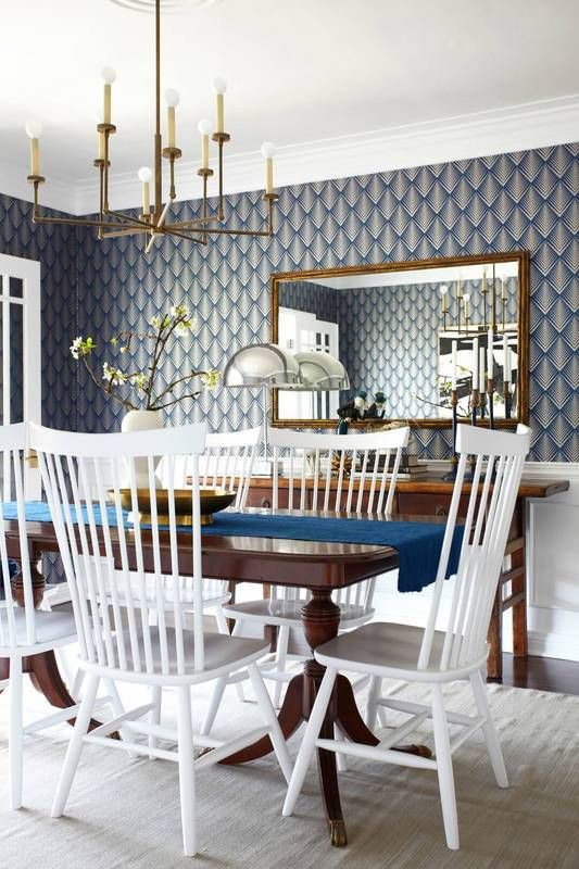 Blue diamond wallpaper in dining room 25 Amazing Dining Rooms with Wallpaper