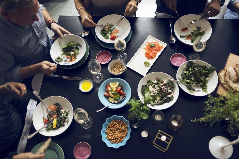 Friends having dinner