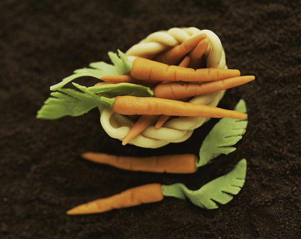 A basket of marzipan carrots
