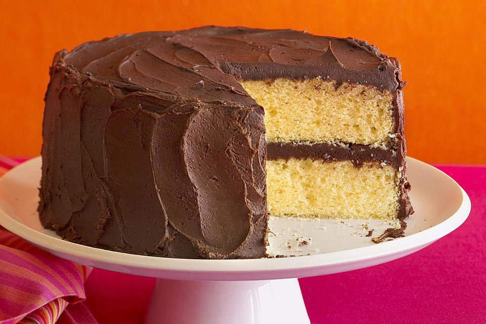 Yellow cake with chocolate fudge frosting
