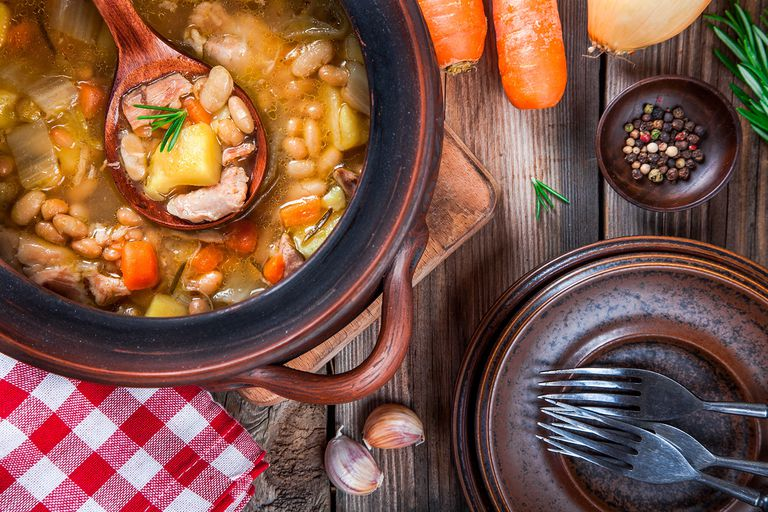 Vegetable stew with white beans, potatoes, carrots and chicken
