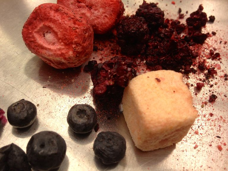 Freeze dried watermelon and berries at the OSU Food Innovation Center