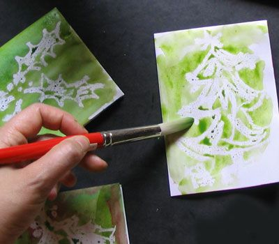 Use the wax resist painting technique to make quick Christmas cards