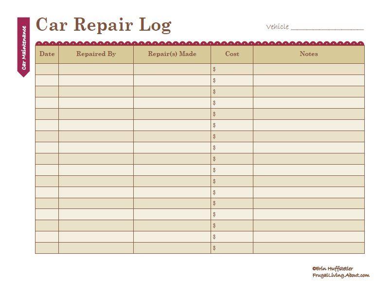 printable car maintenance and repair log