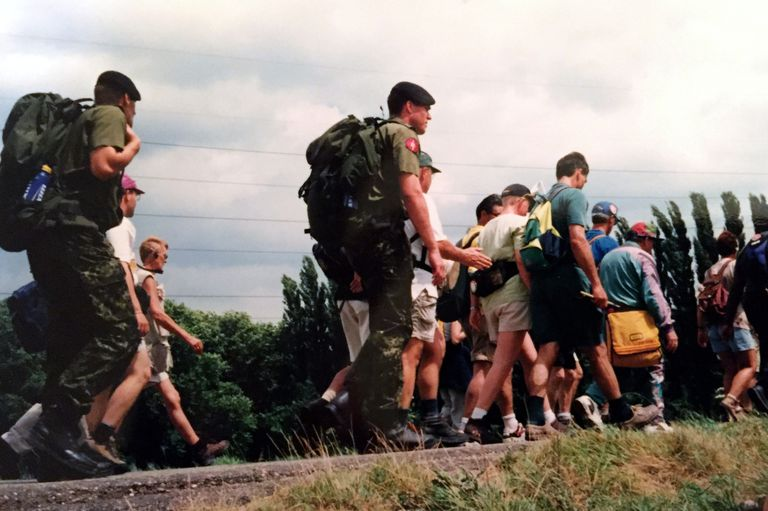 Soldiers and Civilians Walk the Nijmegen Vierdaagse Four Days Marches