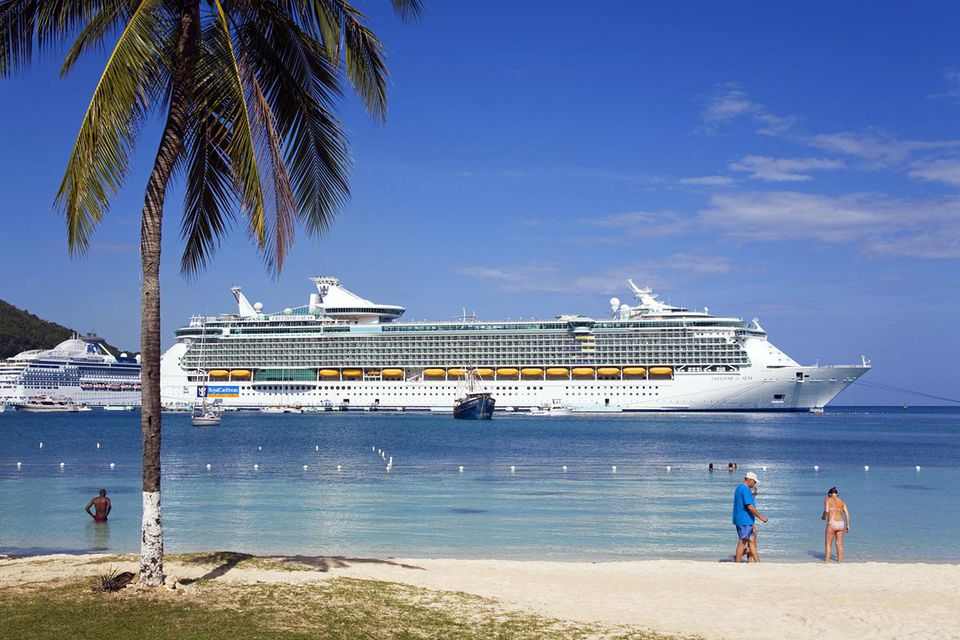 Turtle Beach with cruise ship in background.