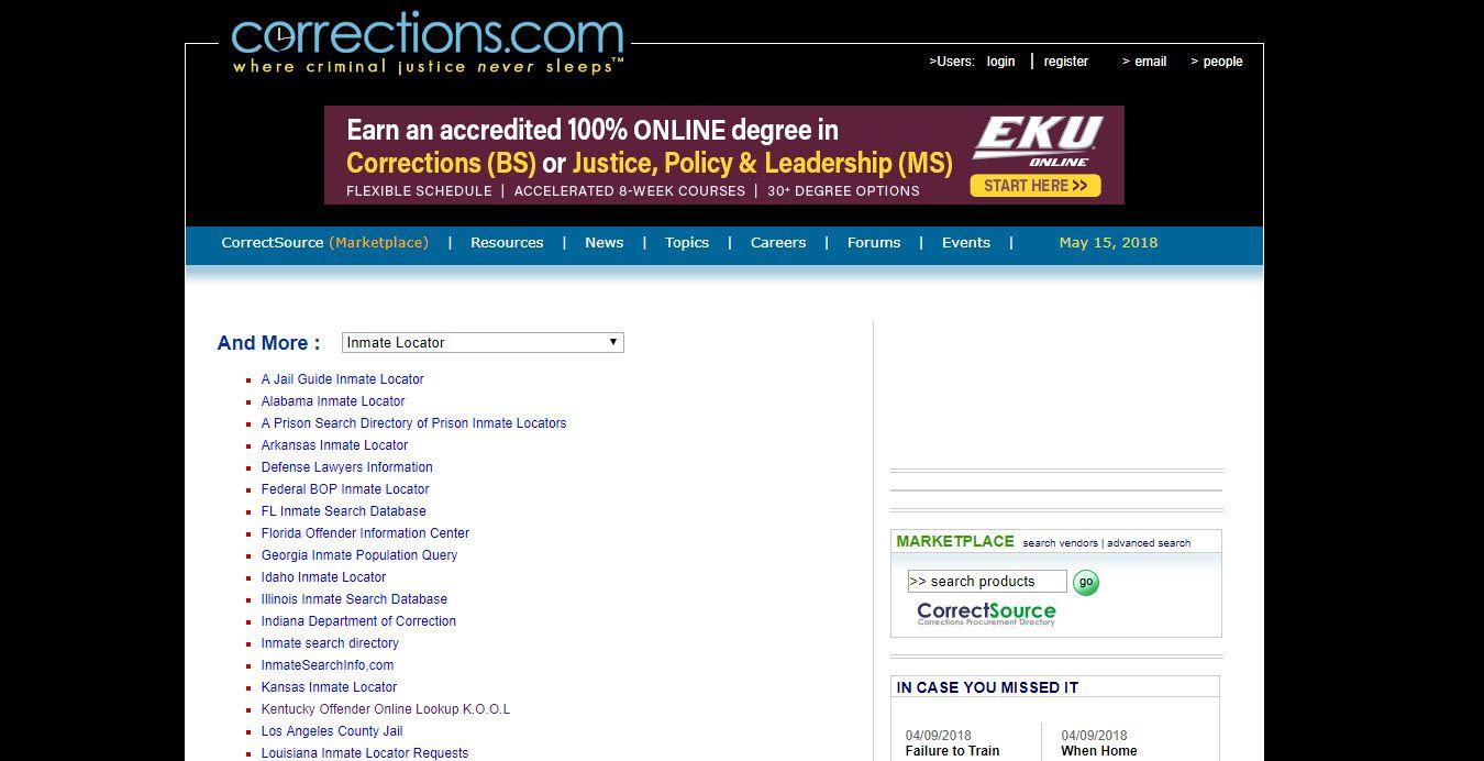 Screenshot of the Corrections.com website.