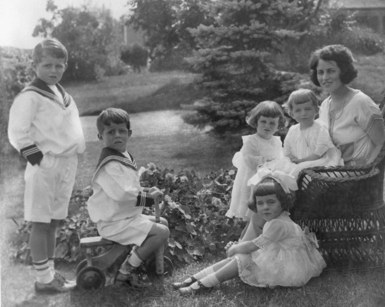 Rose Kennedy With Five of Her Children. John F. Kennedy is Seated on the tricycle.
