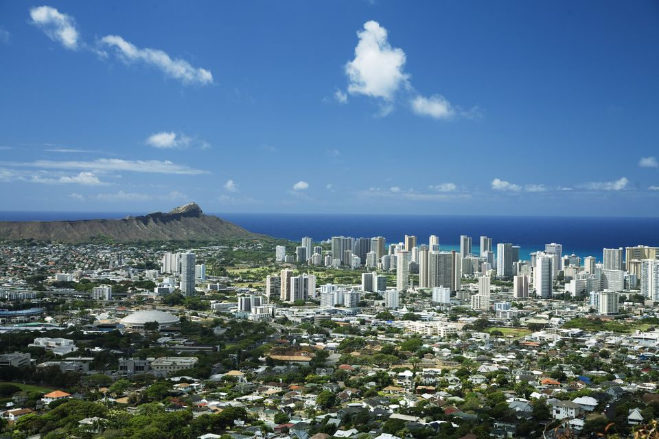 Diamond Head and Waikiki as Seen from Mt. Tantalus