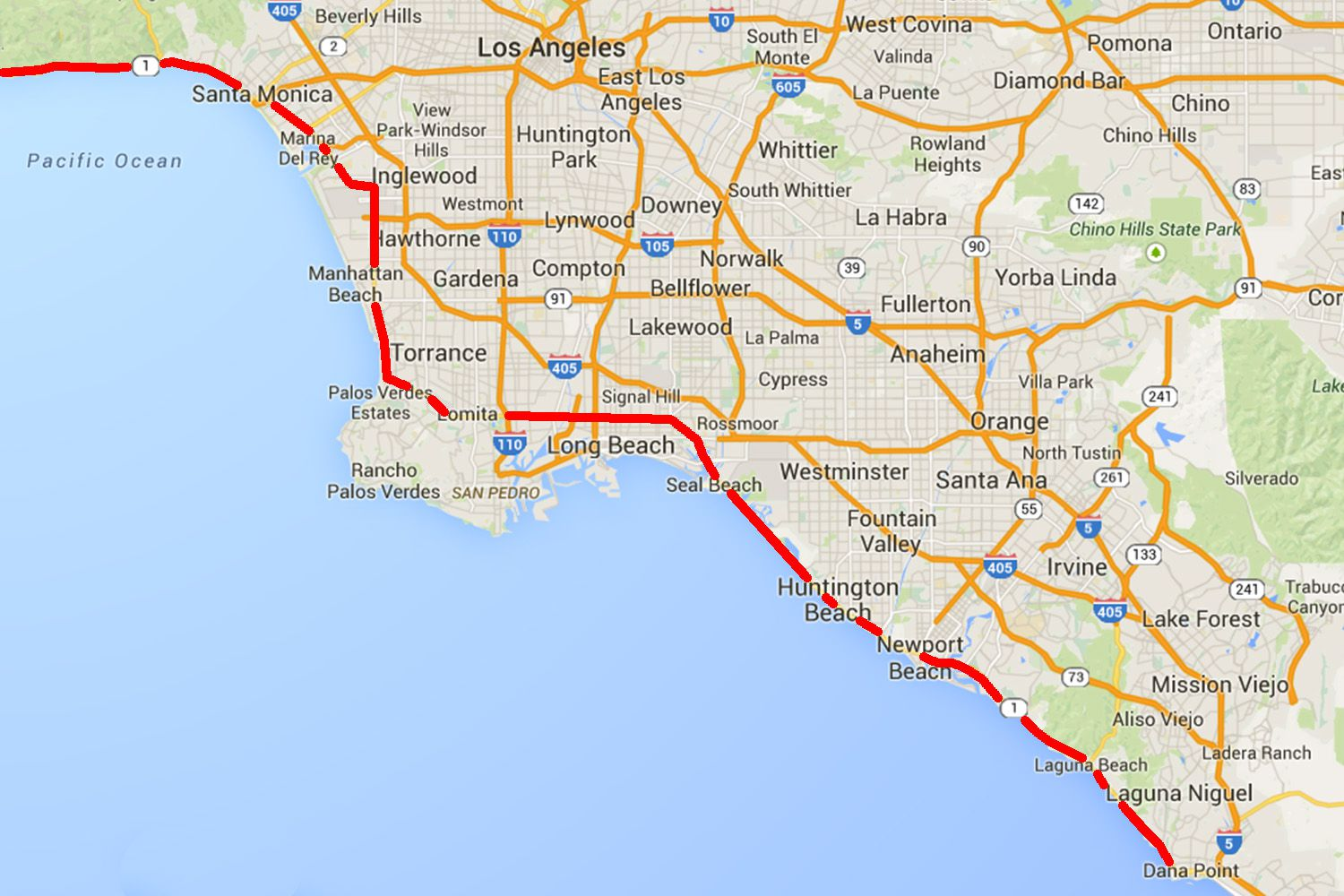 Pacific Coast Highway From Dana Point To Santa Monica - Us highway 1 california map