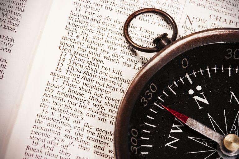 Moral compass with Ten Commandments