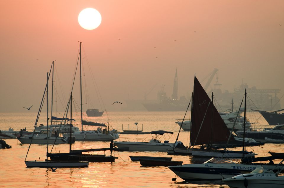 Boats on Mumbai harbor, Colaba.