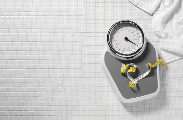 Scale and tape measure for BMI