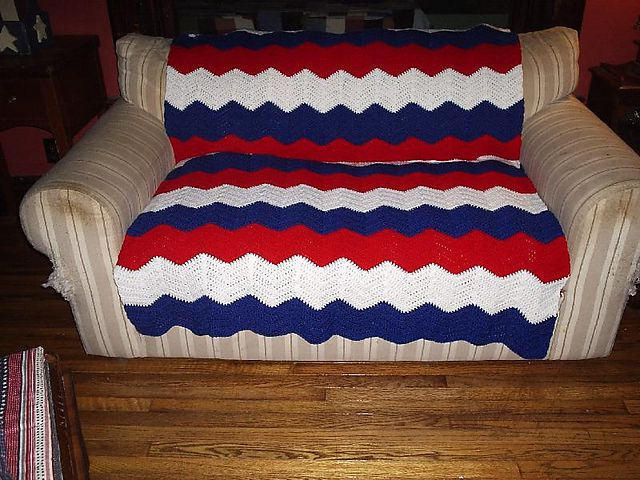 Red, White and Blue Chevron Crochet Blanket Free Pattern