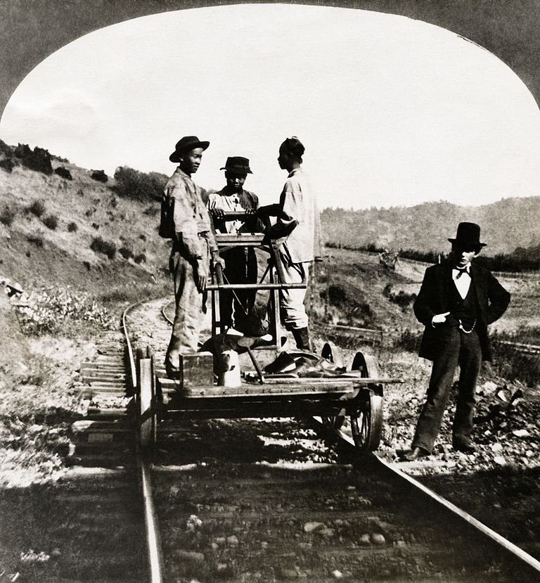 In early California, thousands of Chinese immigrants were employed by the railroads to do the toughest work.