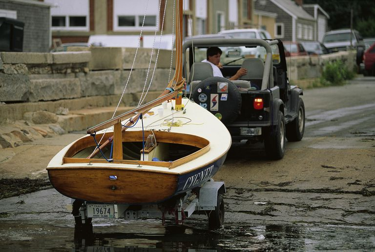 Hauling Beetle Cat Sailboat Out of Water