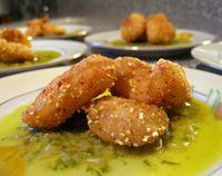 Cornmeal fried cod cheeks