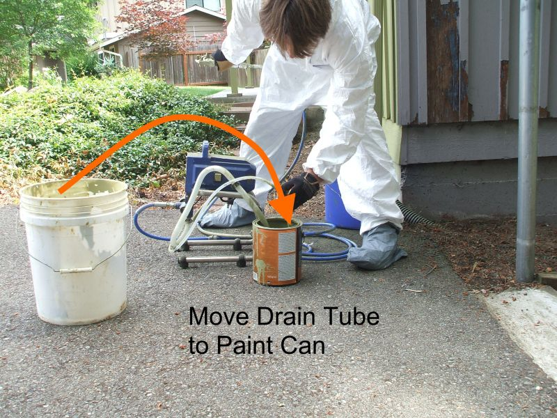 How to Use a Paint Sprayer - Transfer Drain Tube to Paint Can
