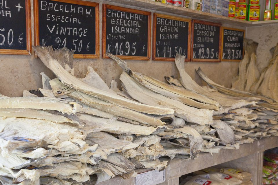 Strips of baccala laid out for sale.