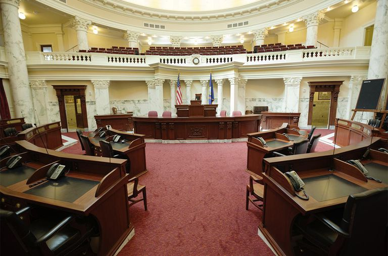 The senate chamber of the state Capitol of the State of Idaho