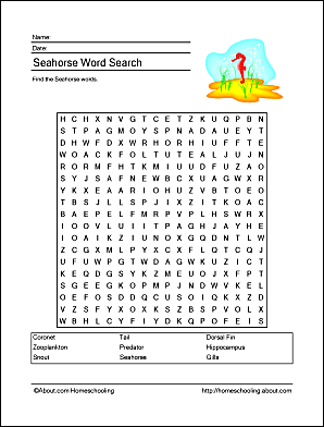seahorse wordsearch vocabulary crossword and more. Black Bedroom Furniture Sets. Home Design Ideas