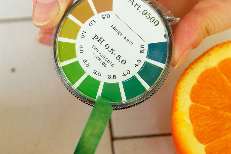 litmus paper next to pH measurements