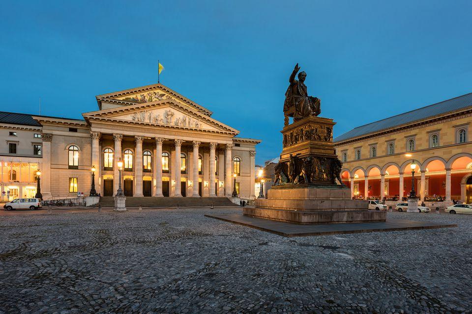 Munich's National Theatre and monument Max I. Joseph