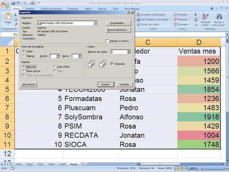 Imprimir hojas Excel
