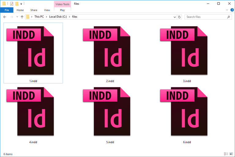 Screenshot of several INDD files in Windows 10