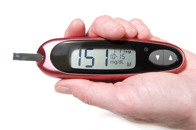 A high blood sugar level in a diabetic.