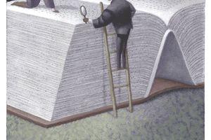 cartoon of men inspecting giant book