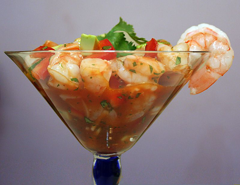 Mexican Shrimp Ceviche-Style Cocktail in martini glass