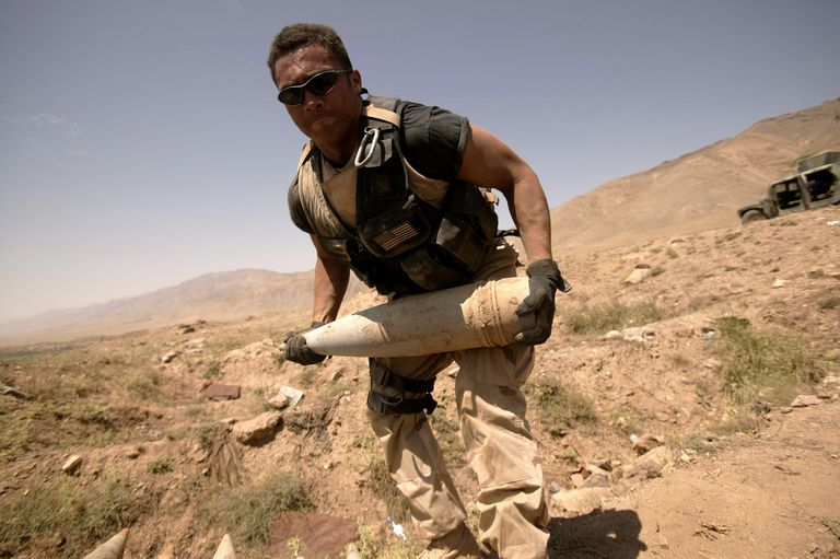 An Explosive Ordnance Disposal Team From The U.S. Air Force Remove Soviet Artillery Shells North Of Kabul