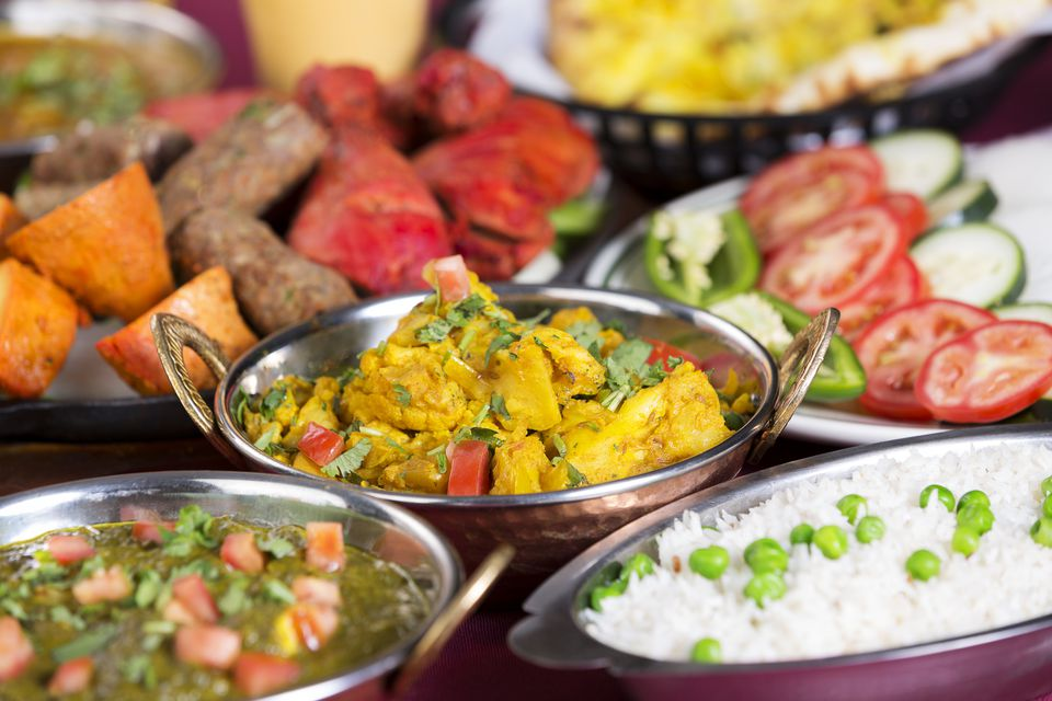 assorted Indian food dishes