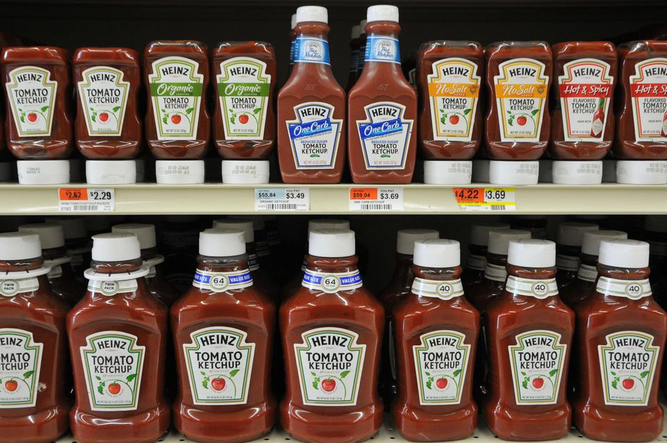 Ketchup bottles on shelf