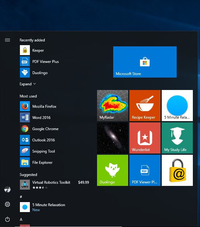 A screen shot of the Start menu with our favorite apps showing.