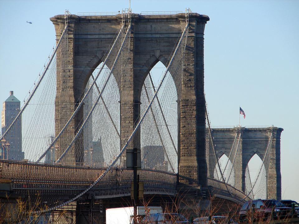 The Brooklyn Bridge viewed from the Prospect Street, in Brooklyn, New York